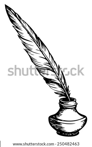 Goose feather  in elegant old-fashioned decorative inkpot  isolated on white background with space for text. Vector monochrome freehand sketchy linear drawn picture in style of book engraving - stock vector
