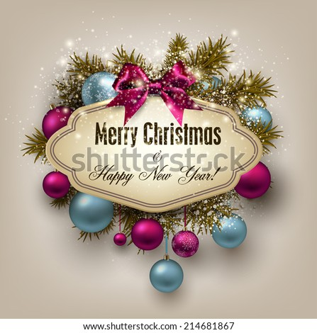 Gorgeous Christmas gift card with ribbon and Christmas baubles. Vector illustration. - stock vector