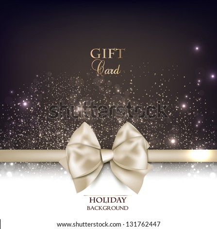 Gorgeous gift card with white bow and copy space. Vector illustration - stock vector
