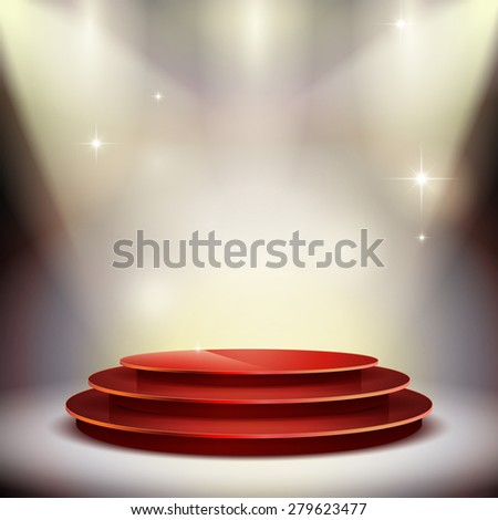 gorgeous performance platform isolated on illuminated background - stock vector