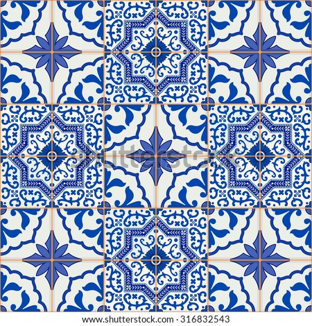 Gorgeous seamless patchwork pattern from dark blue and white Moroccan, Portuguese  tiles, Azulejo, ornaments. Can be used for wallpaper, pattern fills, web page background,surface textures.  - stock vector
