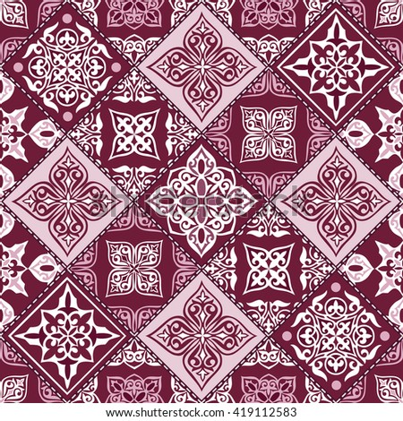 Gorgeous seamless patchwork pattern from vinous and white Moroccan tiles, ornaments. Can be used for wallpaper, pattern fills, web page background,surface textures. - stock vector