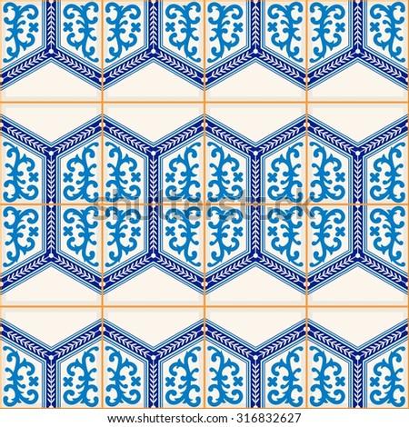 Gorgeous seamless  pattern from dark blue and white Moroccan, Portuguese  tiles, Azulejo, ornaments. Can be used for wallpaper, pattern fills, web page background,surface textures.  - stock vector