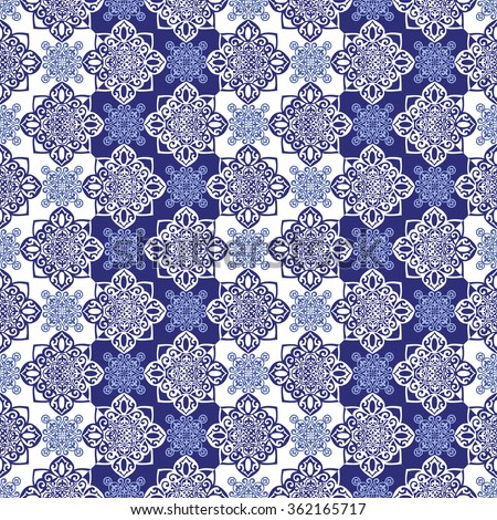 Gorgeous seamless pattern from dark blue  Moroccan tiles, ornaments. Vector patchwork pattern with geometric and floral  ornaments.  - stock vector