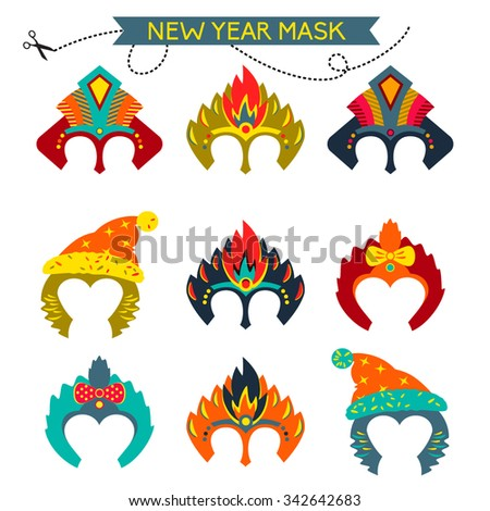 Gorgeus Set of colorful mask christmas monkey. Hand drawn mask for happy new year. Chinese zodiac 2016. Child party. Cut and play.  - stock vector