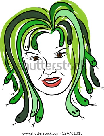 gorgon with snakes-hair - stock vector