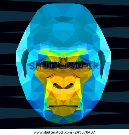 Gorilla. Abstract gorilla. Polygonal gorilla. Geometric gorilla.  Triangle gorilla. Bright blue and yellow gorilla. Gorilla. Gorilla monkey. Ape. Monkey. Nature. Ape icon. Isolated gorilla. Gorilla. - stock vector