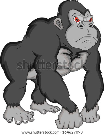 gorilla cartoon - stock vector
