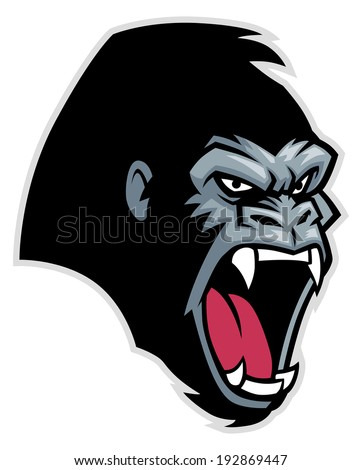 Gorilla head - stock vector