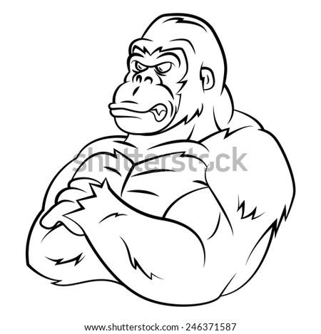 Gorilla Strong Mascot - stock vector