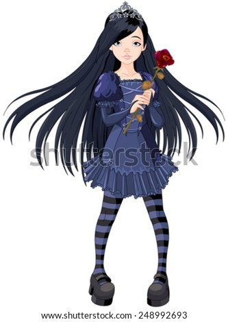 Goth stile girl holding withered rose - stock vector