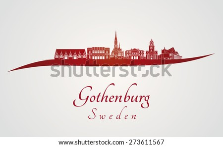 Gothenburg skyline in red and gray background in editable vector file - stock vector