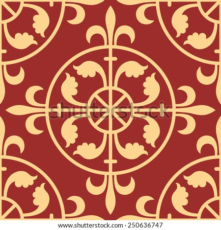Gothic seamless pattern. Geometrical royal elements in a medieval style. Ornament for a tiles and mosaics. Vector illustration - stock vector