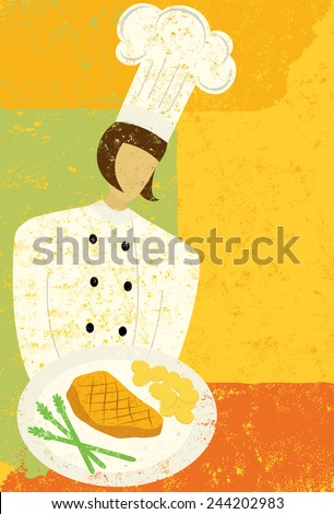 Gourmet Chef A gourmet chef holding a plate with grilled chicken and vegetables. The chef is on a separate labeled layer from the background. - stock vector