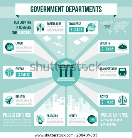 Government departments infographics with copyspace and icons set, world map and city skyline - stock vector
