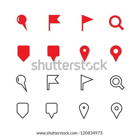 GPS and Navigation Icons on white background. Vector illustration. - stock vector