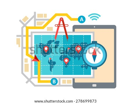 GPS map navigation and routing concept flat vector illustration - stock vector