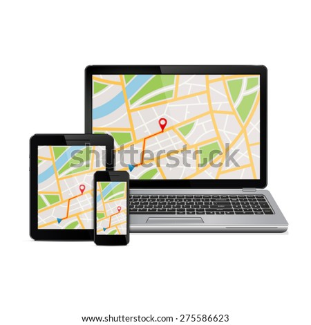 GPS map on display of modern digital devices - stock vector