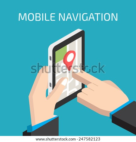 GPS mobile navigation with smartphone in hand - stock vector