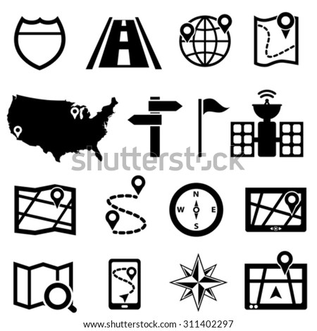 GPS, navigation and road icon set - stock vector
