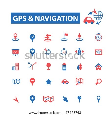 gps navigation, location, map, direction, route, car, logistics, travel, positioning, compass, cartography, road, journey, searching icons, signs vector - stock vector