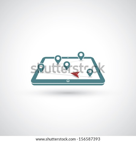 GPS navigation - vector illustration - stock vector