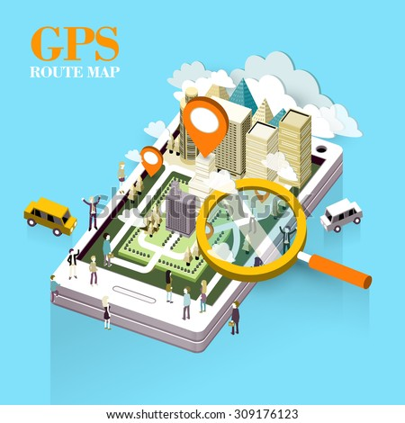 GPS route map concept in flat 3d isometric graphic  - stock vector