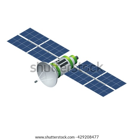 GPS satellite. Flat 3d vector isometric illustration. Wireless satellite technology. World global net.  - stock vector