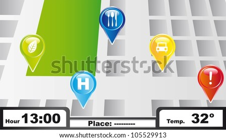 gps with colorful icons background. vector illustration - stock vector