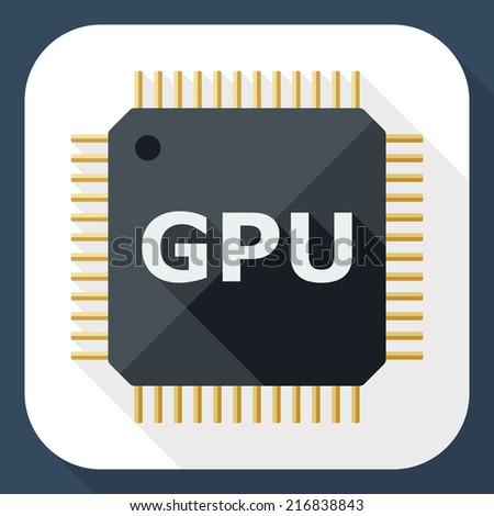 GPU icon with long shadow - stock vector