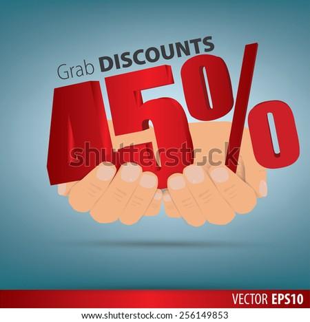 Grab discounts. Hands hold 10 percent discount. vector banner discount of 10 percent. EPS 10 - stock vector