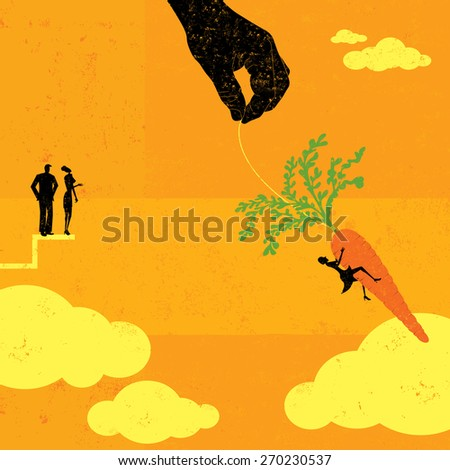 Grabbing the Carrot People watching as a businesswoman takes a chance and jumps for the dangling carrot.  - stock vector