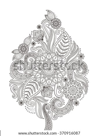 graceful flower coloring page design in exquisite line - stock vector