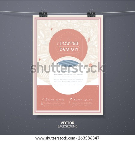 graceful poster template design with circular elements in pink and white - stock vector
