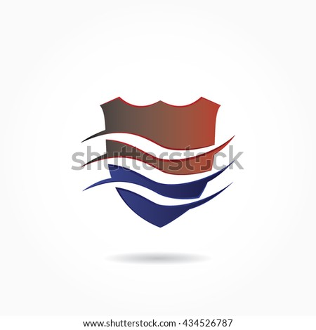 gradient blue and red shield wih three wave slashing in the middle - stock vector