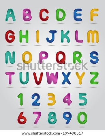 Gradient colorful  alphabet and numbers set. - stock vector