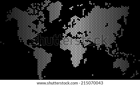 Gradient dots world map on black background, vector illustration. - stock vector