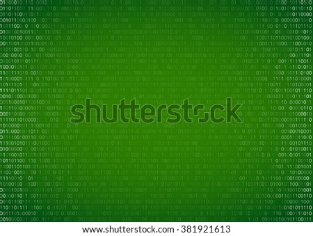 Gradient fall off binary code screen listing table cypher, green, vector background - stock vector