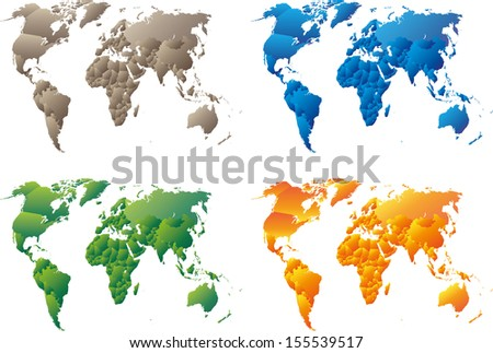 gradient political maps - stock vector