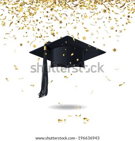 graduate cap and golden confetti - stock vector