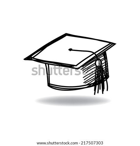 Graduate cap with ink hand drawn - stock vector