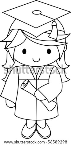Graduate - Girl - stock vector