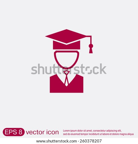 graduate hat avatar sign. the head of the student learner. Education sign, symbol icon college or institute. graduation. vector icon - stock vector
