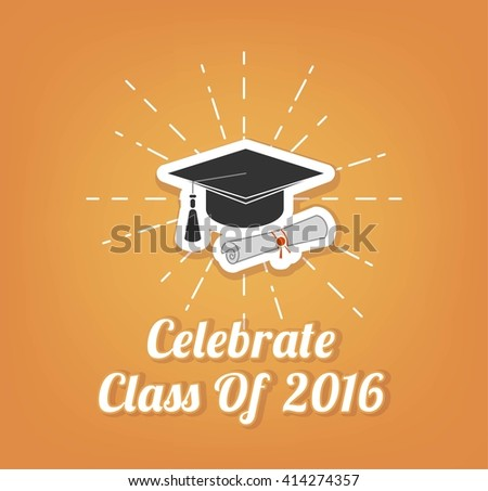 Graduate hat. Graduation. . Vector Illustration.   - stock vector