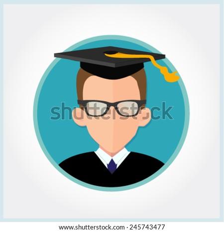 graduate student vector in flat design  - stock vector