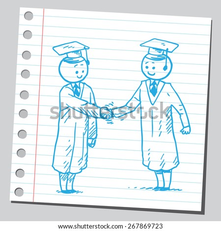 Graduate students shaking hands - stock vector