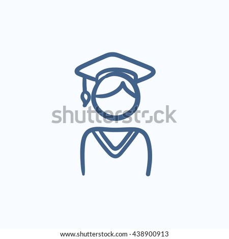 Graduate vector sketch icon isolated on background. Hand drawn Graduate icon. Graduate sketch icon for infographic, website or app. - stock vector