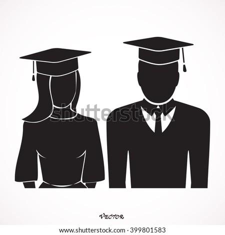 graduates in gown and graduation cap icon, flat style vector illustration. Graduates pictogram. Graduate Icon. Graduate Icon Vector. Graduate Icon JPEG. - stock vector