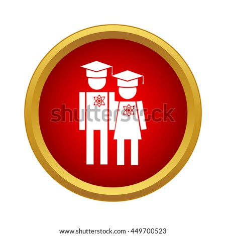 Graduates in graduation cap icon in simple style on a white background - stock vector