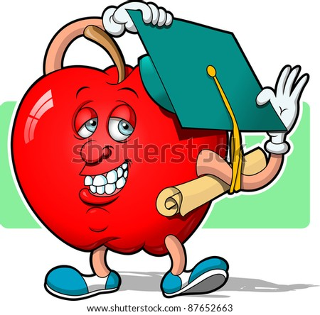 Graduation Apple - stock vector